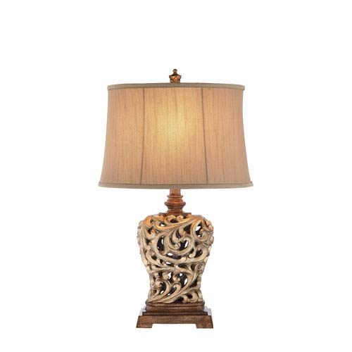 Catalina Lighting Soft Gold and Oil Rubbed Bronze 12-Inch LED Table Lamp