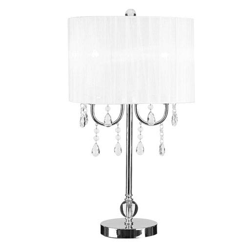 Catalina Lighting Glam Chrome Two-Light Table Lamp