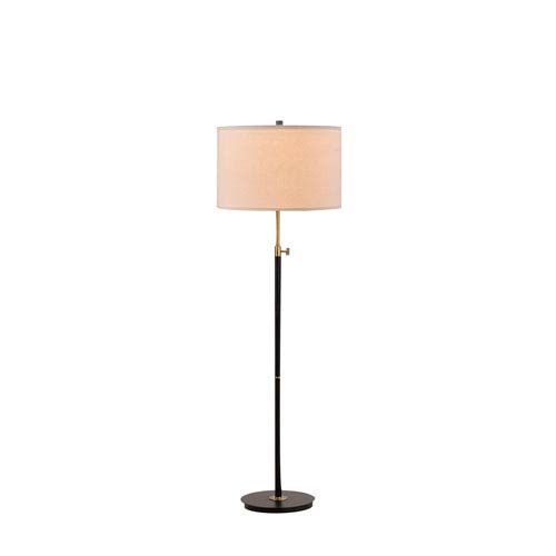 Riley Antique Brass and Matte Black LED Floor Lamp