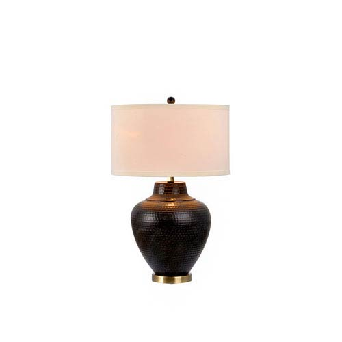 Catalina Lighting Pembroke Oil Rubbed Bronze with Antique Brass Accents LED Table Lamp