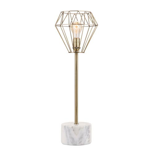 Catalina Lighting Plated Br Finish With White Marble Base Led Table Lamp