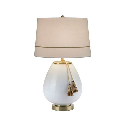 Catalina Lighting White Milk Glass With Antique Brass Led Table Lamp