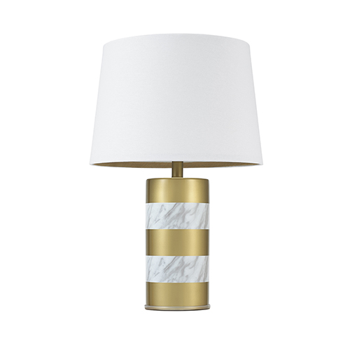 Gold Painted with White Marble Wrap One-Light Table Lamp