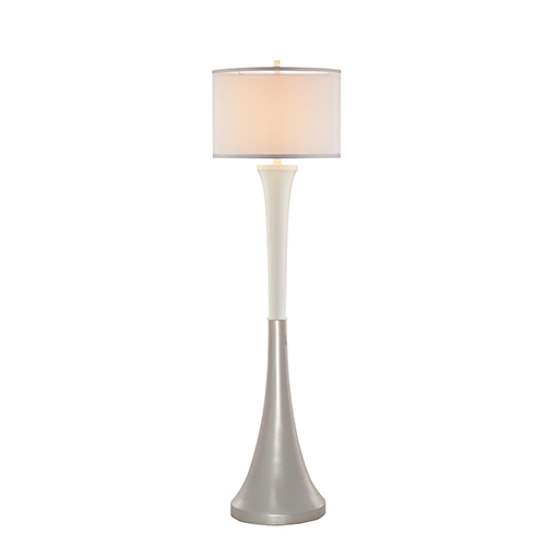 Nico Glossy Silver and White One-Light Floor Lamp