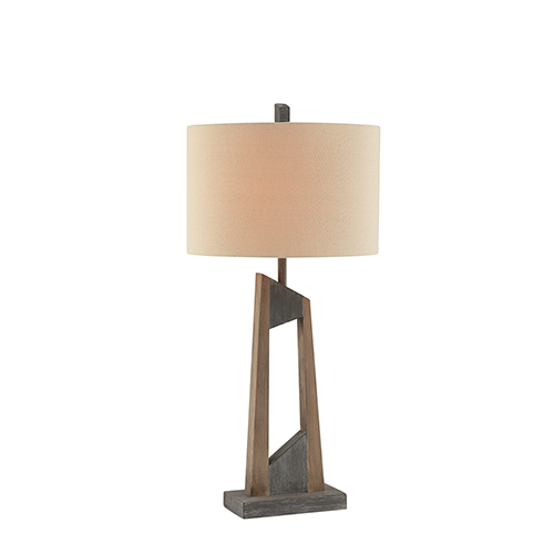 Donovan Faux Natural and Grey Wood One-Light Table Lamp