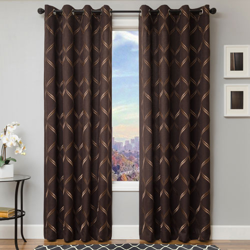 Rocco Chocolate 84 x 55 In. Scroll Embroidered Faux Linen Panel