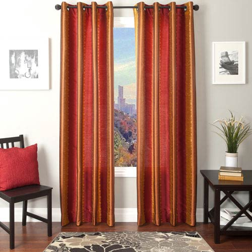 Softline Home Fashions Dorian Red Gold 84 x 55 In. Ikat Inspired Jacquard Panel