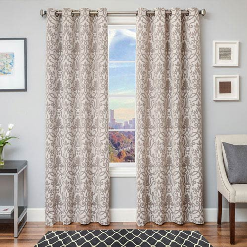 Softline Home Fashions Anthony Java 96 x 55 In. Scroll Jacquard Linen Panel