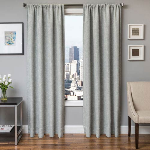 Softline Home Fashions Blaine Spa 96 x 55 In. Tweed Like Solid Faux Linen Panel