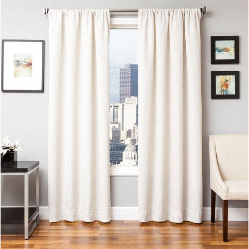 Softline Home Fashions Blaine White 84 x 55 In. Tweed Like Solid Faux Linen Panel