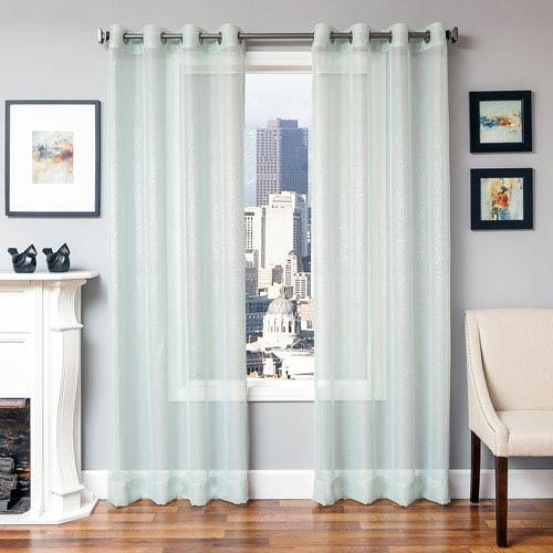 Softline Home Fashions Lana Spa 96 X 55 In Metallic Linen Sheer Panel