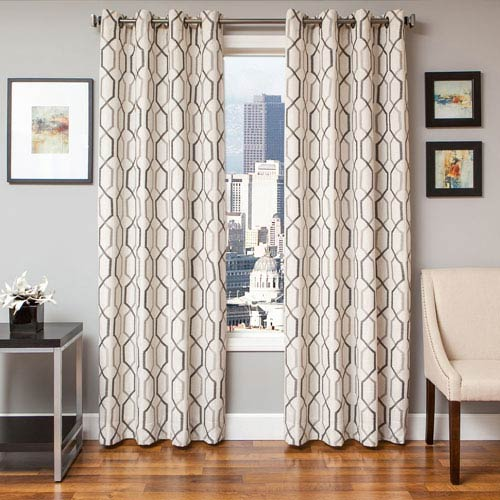 Marina Silver Slate 96 x 55 In. Geometric Embroidered Linen Panel