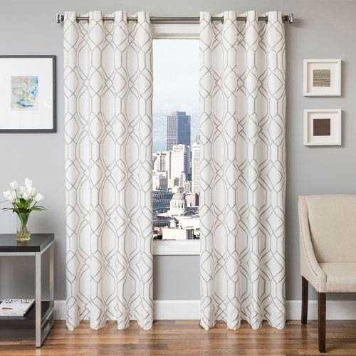 Quinton Silver 96 x 55 In. Geometric Embroidered Cotton Blend Panel
