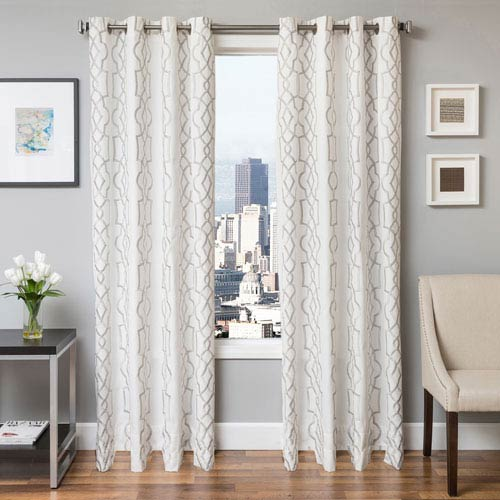 Softline Home Fashions Taylor Silver 96 x 55 In. Geometric Embroidered Cotton Blend Panel
