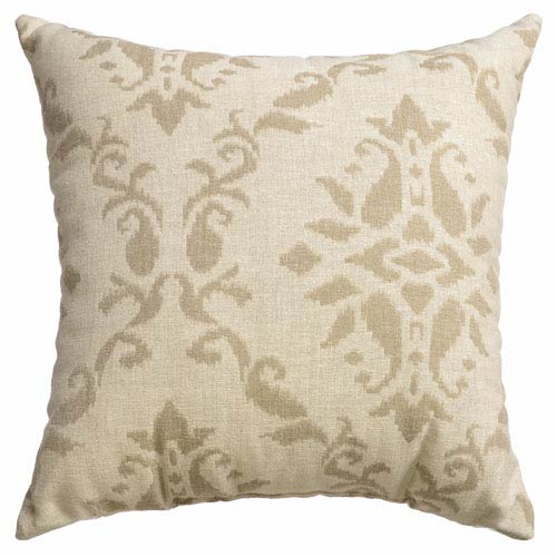 Archer Natural 8 x 8 In. Scroll Jacquard Linen Decorative Pillow
