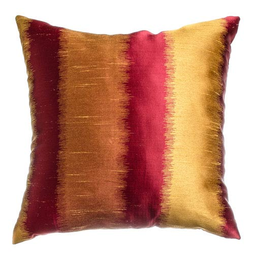 Dorian Red Gold 8 x 8 In. Ikat Inspired Jacquard Decorative Pillow