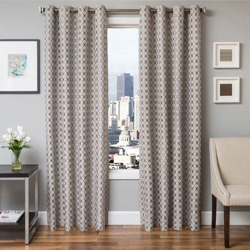 Softline Home Fashions Holden Silver 84 x 55 In. Geometric Jacquard Panel