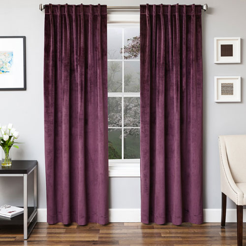 Softline Home Fashions Tatum Plum 96 x 55 In. Luxurious Velvet Panel