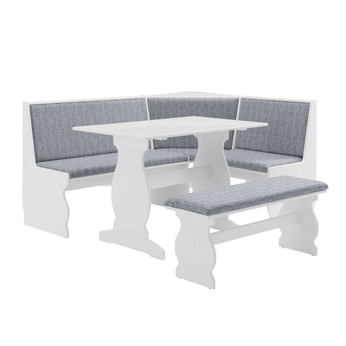Adrian White 66-Inch Nook Table Set