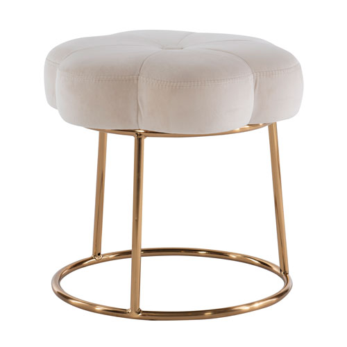 Peggy Gold White 18-Inch Vanity Stool