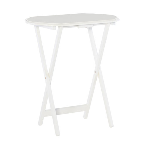 Hazel White 26-Inch Tray Table, Set of Two