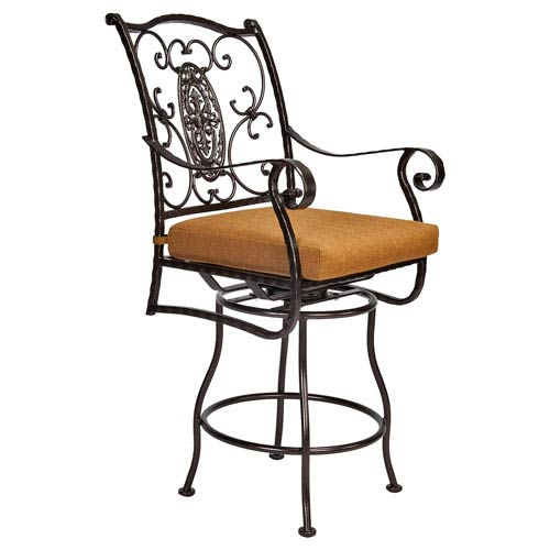 O.W. Lee Swivel Counter Stool with Arms, Copper Canyon and Trax Teak
