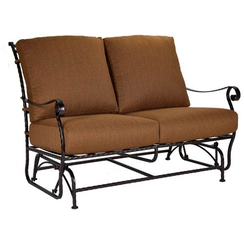 O.W. Lee Love Seat Glider, Copper Canyon and Trax Teak