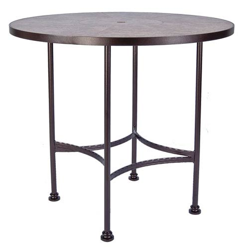 O.W. Lee Bar Table Base with 48-inch Round Top w/Umbrella Hole, Copper Canyon and Roma Dark