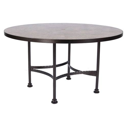 Dining Table Base with 54-inch Round Top w/Umbrella Hole, Copper Canyon and Roma Dark