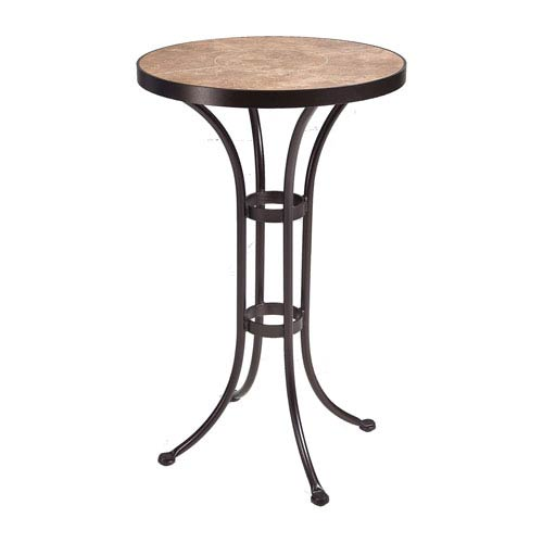 O.W. Lee Counter Table Base with 24-inch Round Top Copper Canyon and Roma Dark