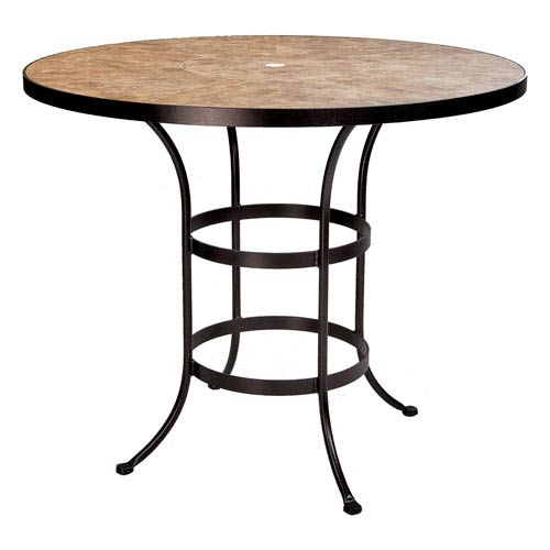 O.W. Lee Counter Table Base with 48-inch Round Top w/Umbrella Hole, Copper Canyon and Roma Dark