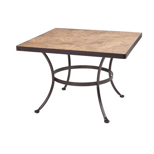 O.W. Lee Chat Table Base with 42-inch Round Top, Copper Canyon and Roma Dark