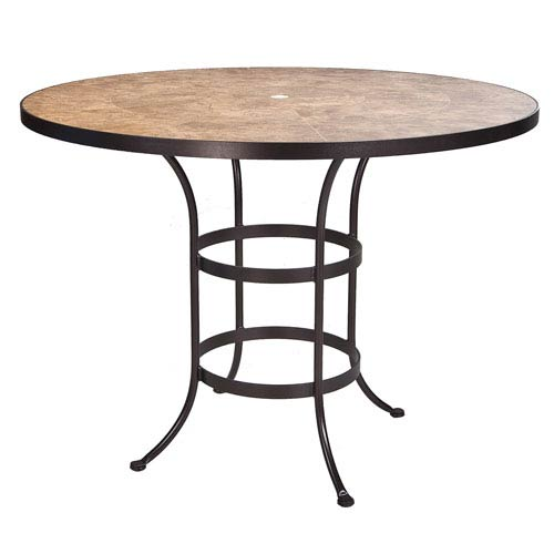 Counter Table Base with 54-inch Round Top w/Umbrella Hole, Copper Canyon and Roma Dark