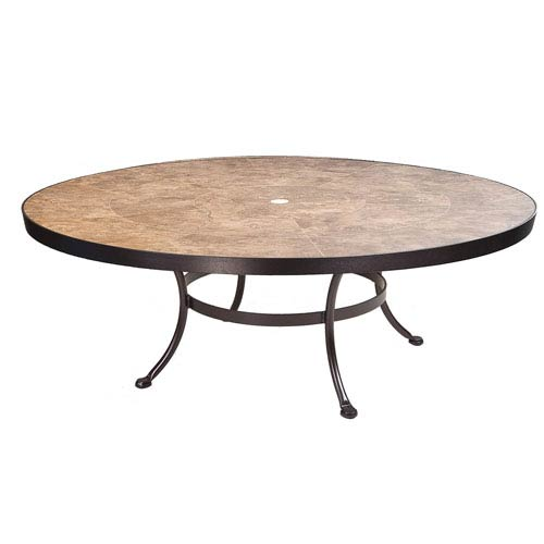 Coffee Table Base with 54-inch Round Top w/Umbrella Hole, Copper Canyon and Roma Dark