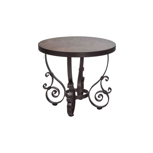 O.W. Lee Side Table Base with 24-inch Round Top Copper Canyon and Roma Dark