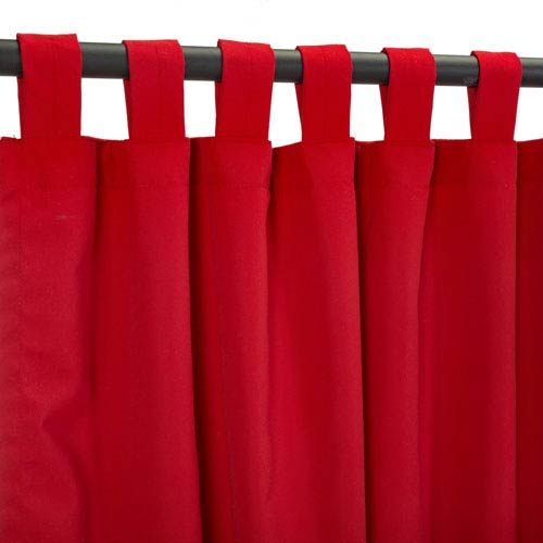 Sunbrella Curtain with Tabs Jockey Red