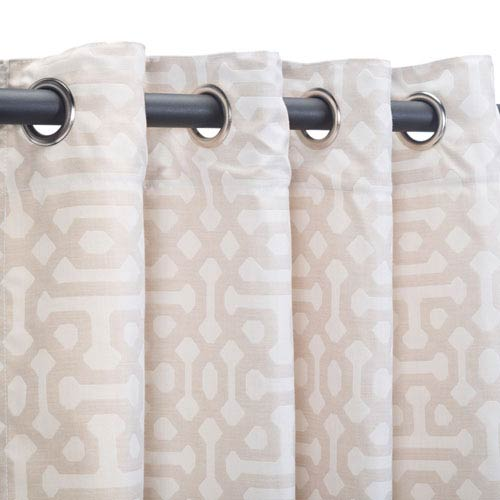 Pawley's Island Curtain Nickel Grom Fretwork Flax