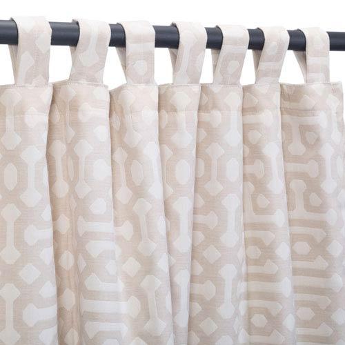 Curtain Tab Sunbrella Fretwork Flax