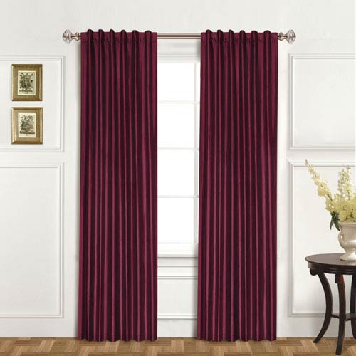 100% Dupioni Silk Burgundy 84 x 42 In. Curtain Panel