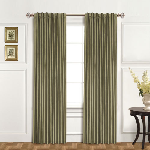 100% Dupioni Silk Sage 84 x 42 In. Curtain Panel