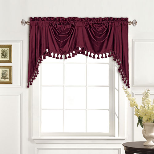 100% Dupioni Silk Burgundy 30 x 108 In. Topper