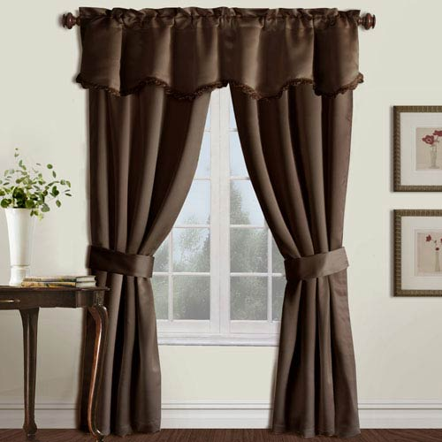 United Curtain Co. Burlington Chocolate 63 x 50 In. Curtain Panel Set and Valance, Set of Five