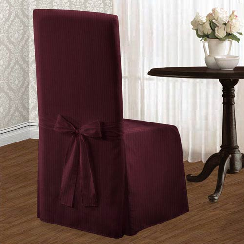 United Curtain Co. Metro Burgundy 39 x 18 In. Dining Room Chair Cover