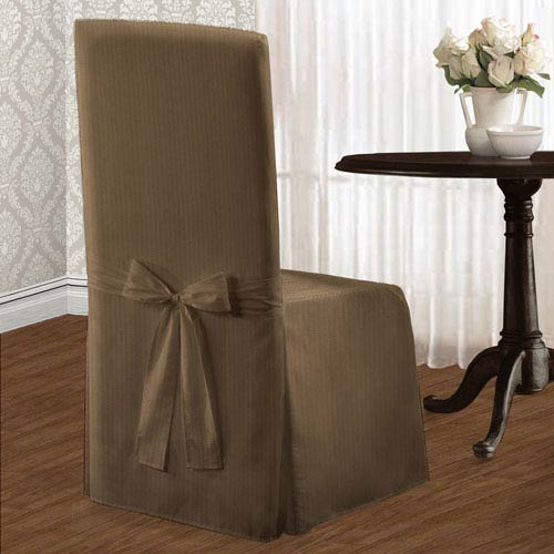 Metro Taupe 39 x 18 In. Dining Room Chair Cover