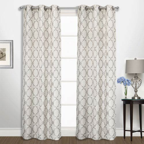 United Curtain Co. Georgia Platinum 84 x 74 In. Curtain Panel Set, Set of Two