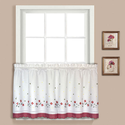 Gingham Red 24 x 60 In. Kitchen Tier Pair, Set of Two