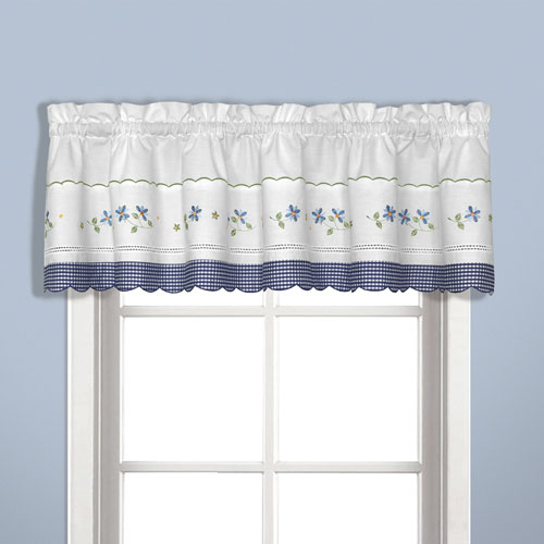 United Curtain Co. Gingham Blue 14 x 60 In. Topper