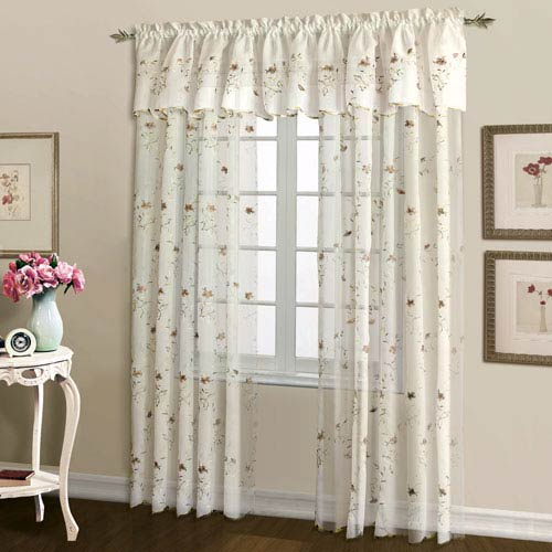 United Curtain Co. Loretta Natural and Chocolate 63 x 52 In. Curtain Panel