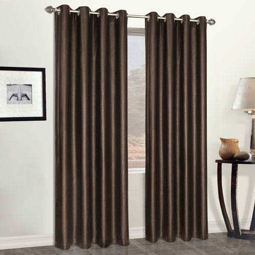 United Curtain Co. Faux Leather Brown 84 x 52 In. Curtain Panel
