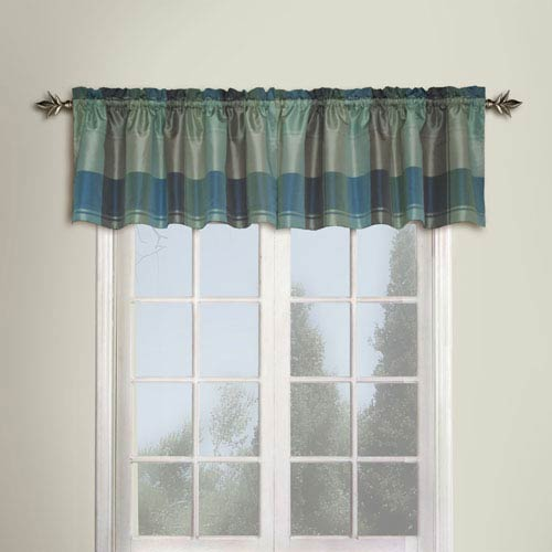 United Curtain Co. Plaid Blue and Green 18 x 54 In. Topper